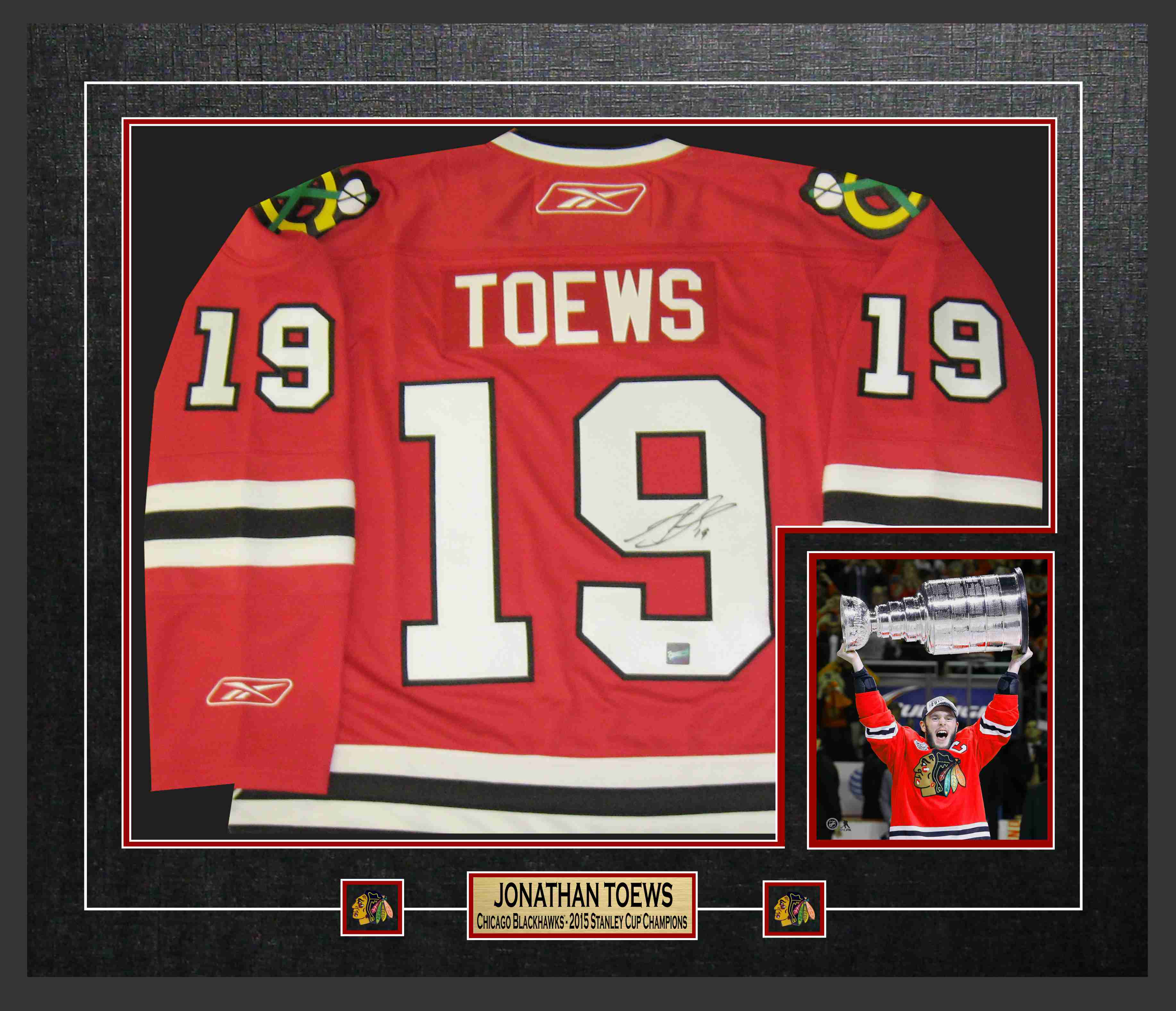 8678cc366 Jonathan Toews - Signed   Framed Chicago Blackhawks 2015 Stanley Cup  Champions Jersey
