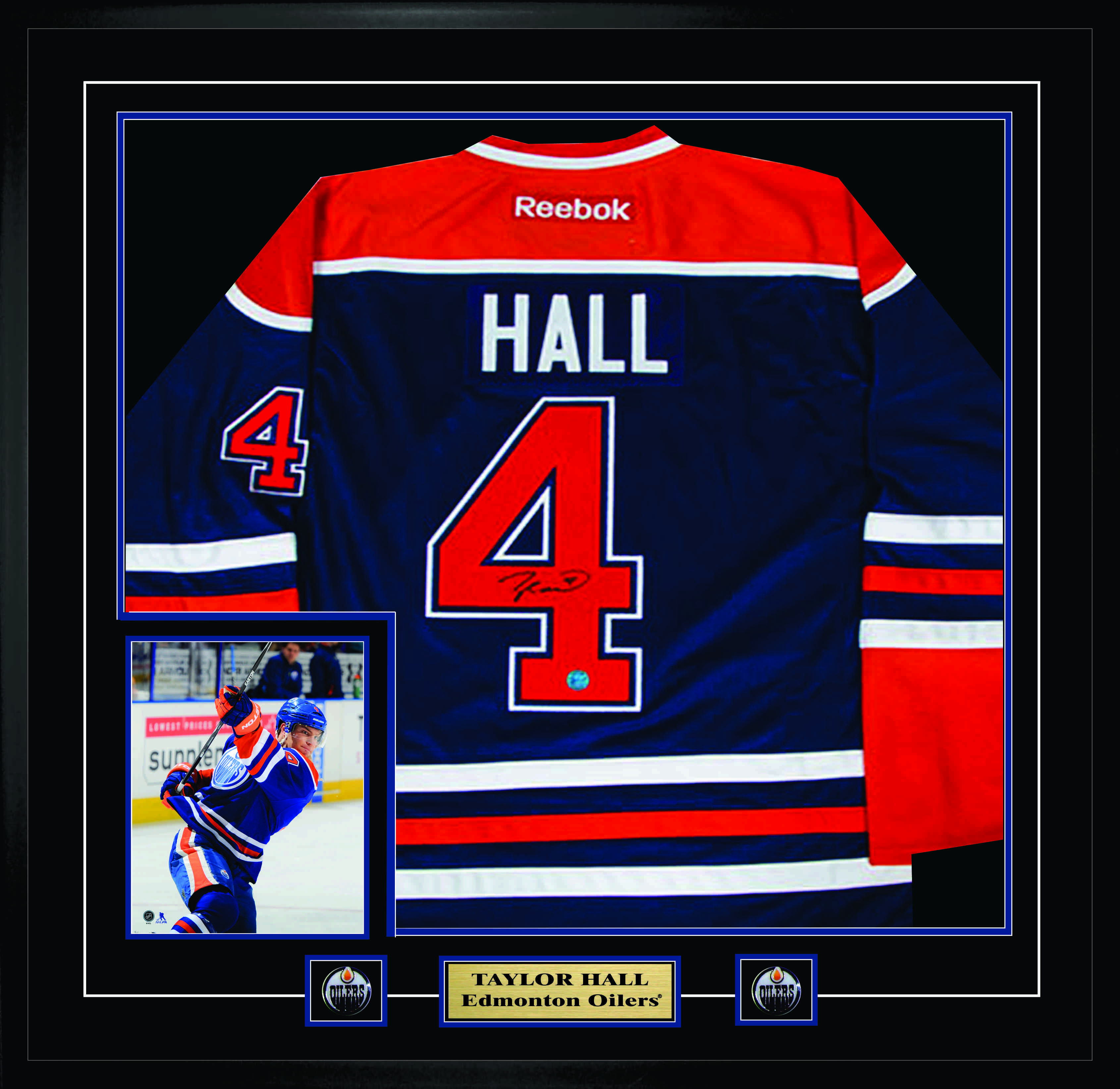 sale retailer 59a8e 8ca4c Lot Detail - Taylor Hall Signed & Framed RBK Oilers Home ...