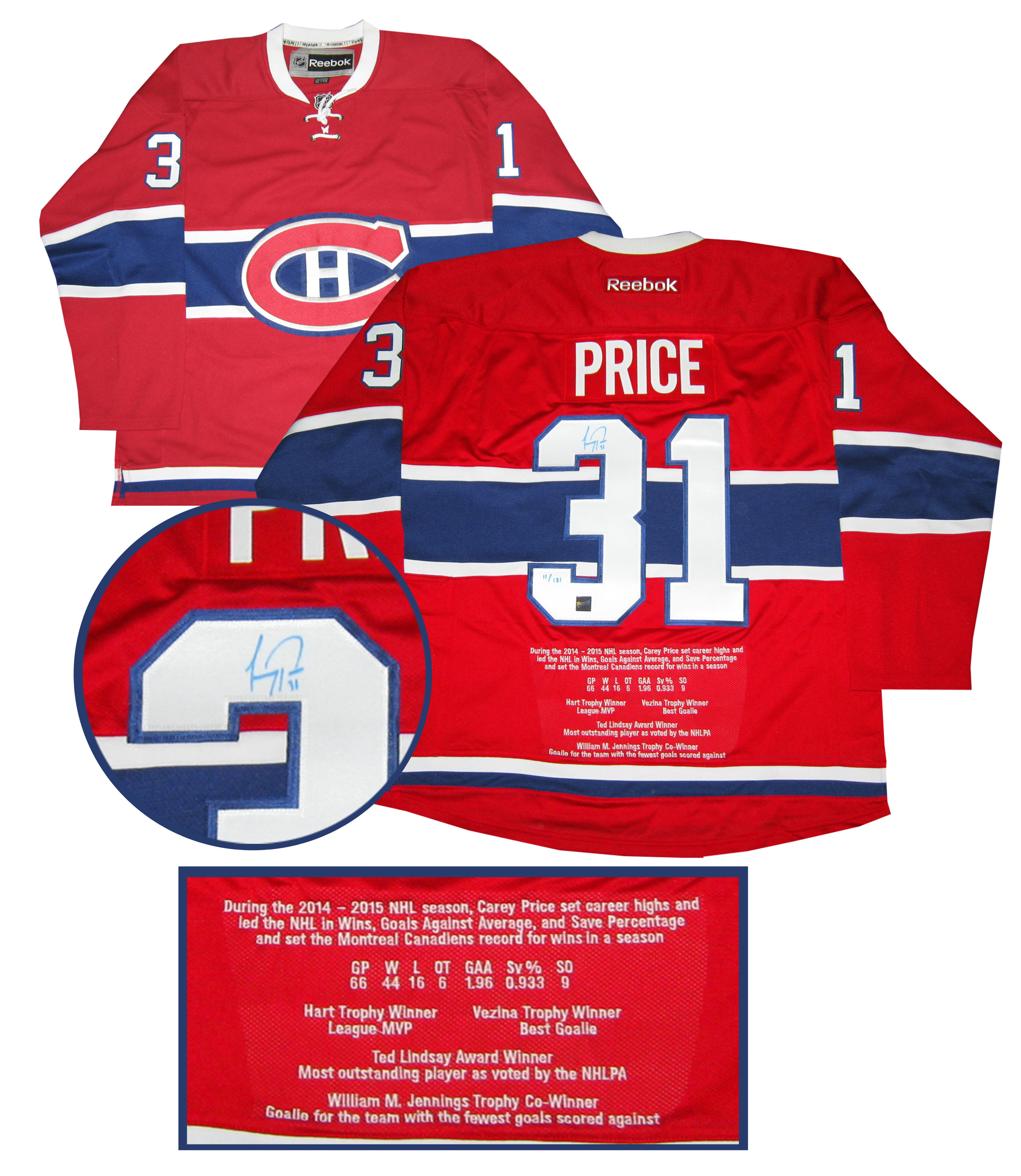 the latest b0e54 762bd Lot Detail - Carey Price - Signed Jersey Embroidered Replica ...