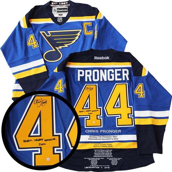 Chris Pronger Signed Milestone Jersey Insc. Blues Reebok Blue Norris Trophy  L E44 c85fc1055