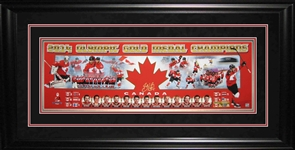 "Sidney Crosby - Signed & Framed 12x36"" Panorama Team Canada 2014 Gold Medal Collage - Frameworth Exclusive Item"