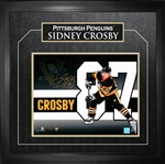 "Sidney Crosby - Signed & Framed 11x14"" Pittsburgh Penguins Gold-H Number Collage - Frameworth Exclusive Item"