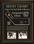 Sidney Crosby - Signed & Framed Game Used Stickblade Featuring Deluxe Cabinet