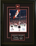 "Sidney Crosby - Signed & Framed 8x10"" Etched Mat Team Canada 2010 Olympics Carrying Flag"