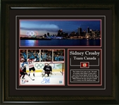 "Sidney Crosby - Signed & Framed 8x10"" Team Canada 2010 Olympics Golden Goal Vancouver Skyline Pan"