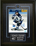 "Sidney Crosby - Signed & Framed 8x10"" Etched Mat Oceanic Action Shot - White Jersey"