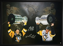 "Sidney Crosby & Mario Lemieux - Dual-Signed & Framed 24x35"" Canvas Stanley Cup"