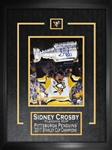 "Sidney Crosby - Signed & Framed 8x10"" Etched Mat Penguins 2017 Raising Cup Close-up"