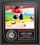 Sidney Crosby - Signed & Framed Puck Canada Featuring Canada 2010 8x10""