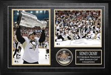 Sidney Crosby - Signed & Framed 2009 Stanley Cup Pittsburgh Penguins Puck with 2 Photos
