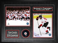 Sidney Crosby - Signed & Framed Puck 2016 World Cup of Hockey Framed With 2 Photos - Team Canada Championship