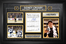 Sidney Crosby - Signed & Framed Scoresheet Pittsburgh Penguins 1000th Point