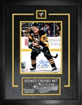 "Sidney Crosby - Signed & Framed 8x10"" Etched Mat Penguins Black Action W 50 Years Patch"