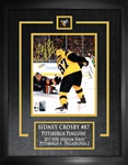 "Sidney Crosby - Signed & Framed 8x10"" Etched Mat Penguins 2017 Stadium Series Scoring"