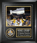 Sidney Crosby - Signed & Framed Puck 2017 Stanley Cup Penguins Featuring  8x10""