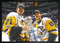"Sidney Crosby & Evgeni Malkin - Dual-Signed & Framed 20x29"" Canvas 2017 Holding Cup-H"