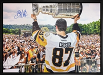 "Sidney Crosby - Signed & Framed 20x29"" Pittsburgh Penguins 2017 Cup Rally Canvas"