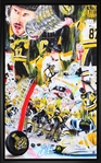 "Sidney Crosby - Signed & Framed 16x26"" Canvas - 2017 Stanley Cup Collage by David Arrigo Limited Edition of 187"
