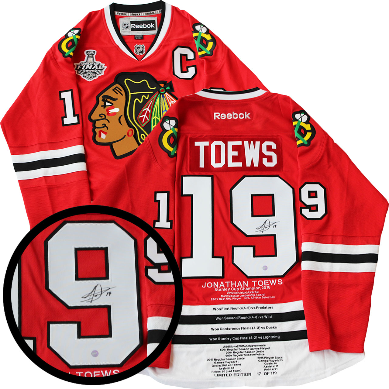 91ae78bee70 Jonathan Toews Signed Milestone Jersey Chicago Blackhawks Replica Red  Reebok 2015 Cup LE 119