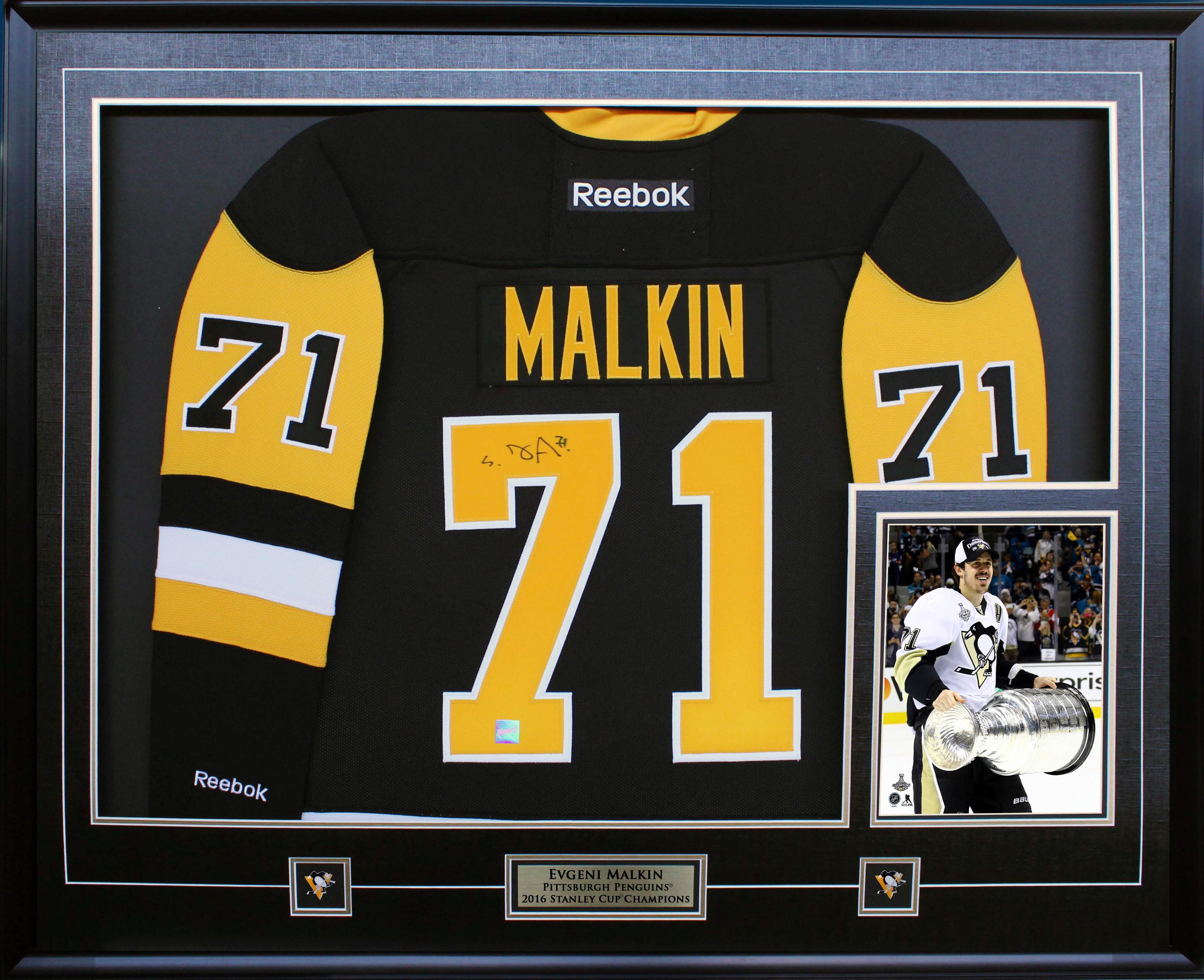 64d7b81ba Evgeni Malkin Signed Jersey Framed Penguins Replica Black Reebok 2016 Cup