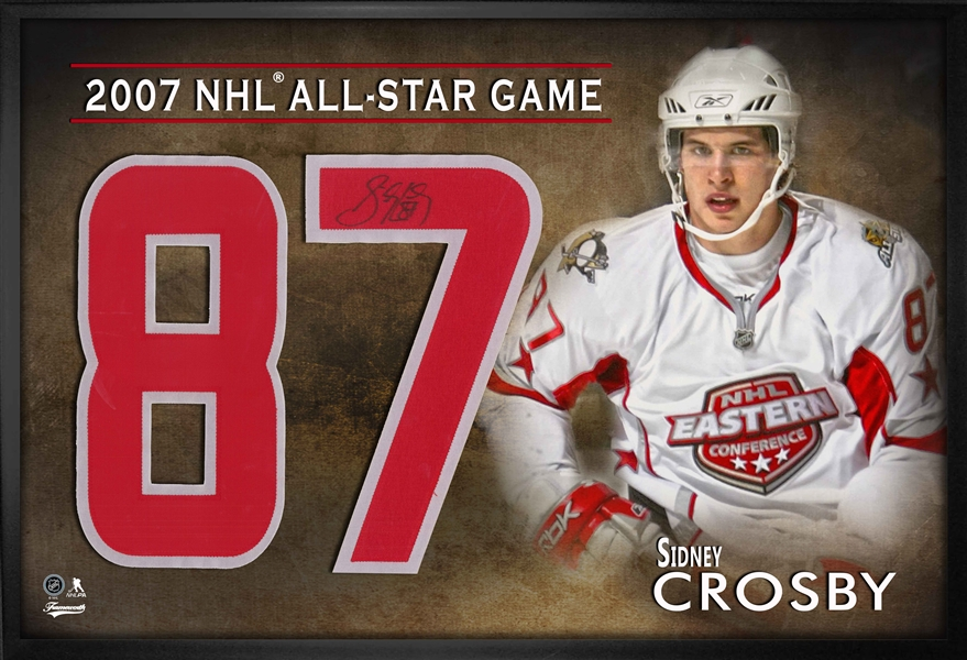 Sidney Crosby Signed Numbers Framed Print All-Star 2007 White