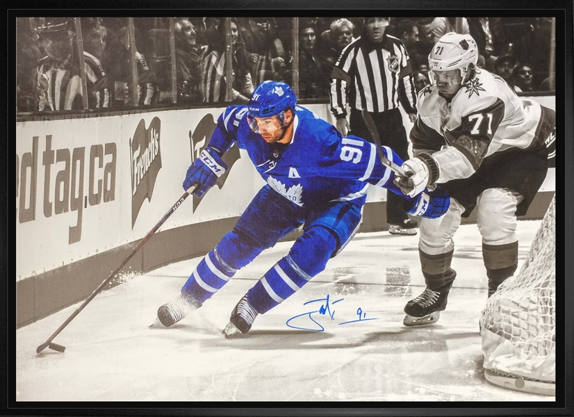 John Tavares Signed 20x29 Canvas Framed Toronto Maple Leafs Spotlight vs Vegas