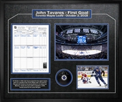 John Tavares Signed Puck with Scoresheet Maple Leafs First Game Collage