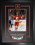 "Johnny Gaudreau Signed 8x10"" Etched Mat Flames White Celebration"