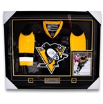 "Kris Letang Signed and Framed Pittsburgh Penguins Jersey with Pins, Plate and 8x10"" Photo"