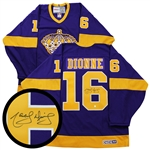 Marcel Dionne, Signed Jersey Kings Purple/Yellow Replica Vintage CCM