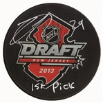 "Nathan MacKinnon Signed Puck 2013 Draft Inscribed ""1st Pick"""