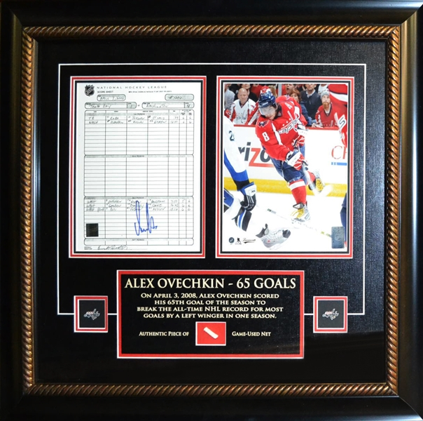 Alex Ovechkin Signed 8x10 Scoresheet Capitals with Piece of Net From 65th Goal