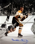 Bobby Orr, Signed 8x10 Unframed Bruins White Rookie Puck In Air