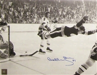 Bobby Orr, Signed 11x14 Unframed Bruins The Goal B/W