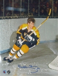 Bobby Orr, Signed 11x14 Unframed Bruins Black-V Stick up behind net