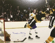 Bobby Orr, Signed 16x20 Unframed Bruins Black The Goal Colour
