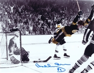 Bobby Orr, Signed 8x10 Unframed Bruins The Goal B/W w Bobby Colorized