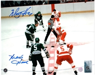 Mark / Marty Howe, Signed 8x10 Unframed Whalers Green Face-off vs Red Wings