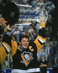 Mario Lemieux, Signed 16x20 Unframed Penguins w/Cup
