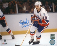 Bryan Trottier, Signed 8x10 Unframed Islanders White Skating HOF97 Inscription