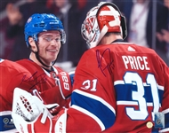 Carey Price / Max Domi, Dual Signed 11x14 Unframed Canadiens Celebration