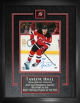 "Taylor Hall, Signed 8x10 Etched Mat Devils Red Action 2018-V Insc ""MVP"""